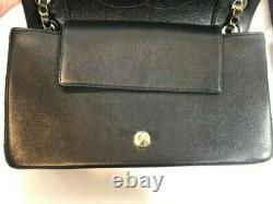 Chanel Chanel Mademoiselle Vintage Flap Bag Black Enamel & Gold CC Fermoir A93085