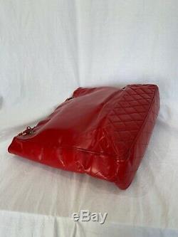 Chanel Classique Vintage Matelassée En Cuir Rouge Chaîne Lien Fourre-tout Sac À Bandoulière Sac À Main