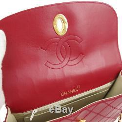 Chanel Cosmos Ligne CC À Chaîne Unique Sac À Bandoulière En Cuir Rouge Sac Vtg Ak31863i