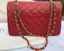 Chanel Double Flap Chain Shoulder Bag Red Lambskin Leather Quilted Vintage