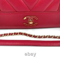 Chanel Mademoiselle Vintage Red Calfskin Crossbody Avec Authenticité Cert