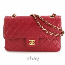 Chanel Matelasse 25 Chaîne Sac À Bandoulière Cuir Rouge A01112 Vintage 90109404
