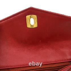 Chanel Matelassé CC Chaîne Taille Bum Sac Sac En Cuir Rouge Vintage Auth Nr11689e