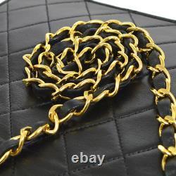 Chanel Matelassé CC Logos Chaîne De La Main De La Main En Cuir Noir Vintage Ak36802k