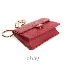 Chanel Matelasse Chaîne Sac À Bandoulière Cuir Rouge A03569 Vintage 90105917
