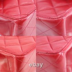 Chanel Matelasse Double Flap Chaîne Sac À Bandoulière Cuir Rouge En Cuir Authentique #pp531 S