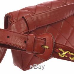 Chanel Matelassée CC Chaîne Ceinture De Taille Bum Sac Sac En Cuir Rouge Vintage Ak33021