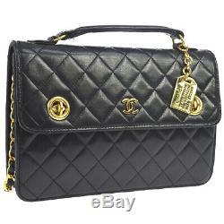 Chanel Matelassée CC De La Chaîne Sac À Main Besace En Cuir Noir Vintage Ghw Ak38254d