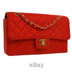 Chanel Matelassée CC Double Chaîne Sac À Bandoulière En Satin Rouge Vintage G03695j