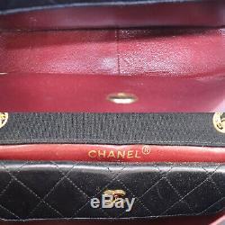 Chanel Matelassée Chaîne Sac À Bandoulière En Coton Noir En Cuir France Auth # Z341 O