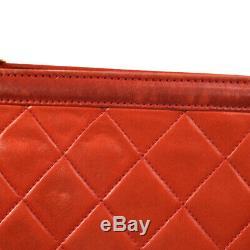 Chanel Matelassée Fringe CC Chaîne Sac À Bandoulière En Cuir Rouge 1289761 Vintage V31308