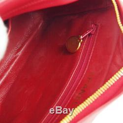 Chanel Matelassée Fringe CC Monocatenaires Sac À Bandoulière En Cuir Rouge Vintage Ak39408