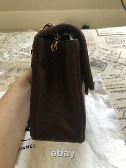 Chanel Mini Classic Flap Bag Burgundy Vintage Lambskin 24k Gold Plated 3 Series
