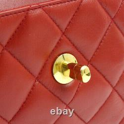 Chanel Quilted CC Chain Waist Bum Bag Red Leather Vintage Authentic K08392f