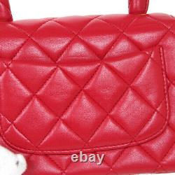 Chanel Quilted CC Logos Mini Hand Bag Sac À Main Red Leather Vintage Auth A53336a