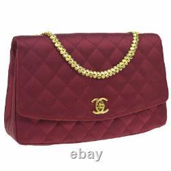 Chanel Quilted CC Single Chain Sac À Bandoulière Red Satin Vintage Purse Ak38284b