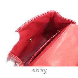 Chanel V Stitch Sac D'épaule En Cuir Rouge CC Vintage Purse 90107449