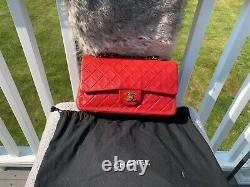 Chanel Vintage Classic Double Flap Chain Sac À Épaule En Cuir Rouge