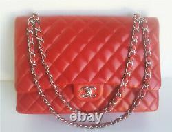 Chanel Vintage Classic Flap Bag Cuir D'agneau Rouge Matelassé. Moyenne