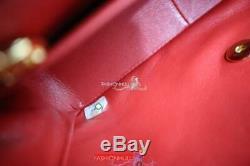Chanel Vintage Corail Rouge En Peau D'agneau Moyenne Diana Matelassée Sac À Rabat