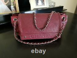 Chanel Vintage Logo Accordéon Flap Bag Caviar Bourgogne & Chanel Authentic Card