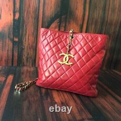 Chanel Vintage Red Quilted Tote With Large Gold CC Charm