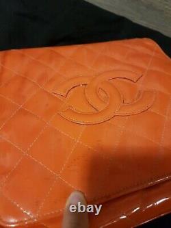 Chanel Vintage Rouge Oranged Sac À Main En Cuir Verni Sac À Main Vintage Authentique