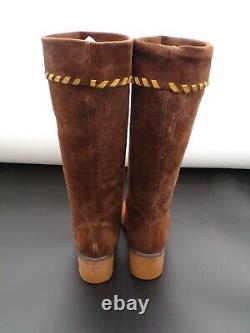 Chaussures Vintage Rare Mary Quant Femmes 1960's Suede Casual MID Calf Bottes Uk 6