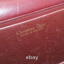 Christian Dior Chaîne Sac À Épaule Vintage Bordeaux Cuir Auth Fm454