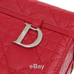 Christian Dior Lady Dior Cannage Sac À Main En Cuir Rouge Cm0077 Vintage Bt16878