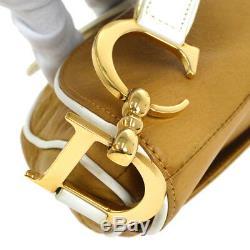 Christian Dior Selle Sac À Main Marron En Cuir Blanc Vintage Italie Ak35574g