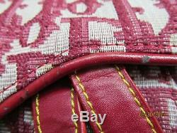 Christian Dior Selle Vintage Bourgogne (rouge) Sac À Main / Matériel De Ton Argent