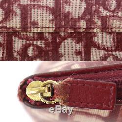 Christian Dior Trotter Petit Sac Pochette En Cuir Bordeaux Pvc Authentique # Nn662 O