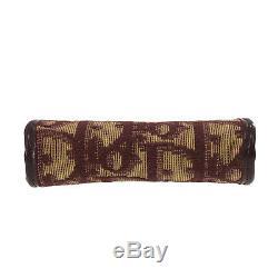 Christian Dior Trotter Porte-monnaie Porte-monnaie Toile Bordeaux Vintage Auth # Mm473 O
