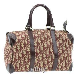 Christian Dior Trotter Toile Sac À Main Vintage Rouge Auth Rd608