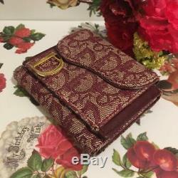 Christian Dior Trotter Toile Selle Bifold Wallet Vintage Rouge Utilisé