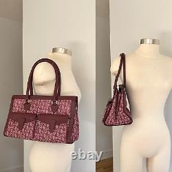 Christian Dior Vintage Double Pocket Rouge Oblique Jacquard Monogram Tote Bag