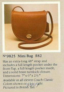 Coach Vintage En Cuir Rouge Mini Sac Crossbody 1980's Sac 9825