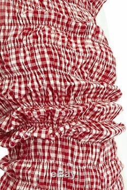 Comme Des Garcons Vintage Ss97 Lumps Bosses Rouges Vichy Blanc Robe De Coupe Irrégulière