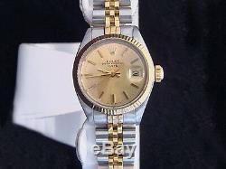 Date Rolex Lady 2tone 14k Montre En Or Jaune En Acier Inoxydable Cadran Champagne 6917