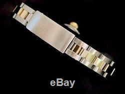 Date Rolex Lady 2tone Montre En Or Jaune 18 Carats En Acier Oyster Romaine Cadran Blanc 69173