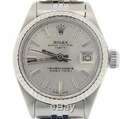 Date Rolex Lady En Acier Inoxydable Et Or Blanc 18 Carats Montre Jubilé Cadran Argent 6917