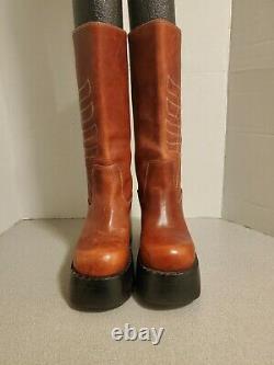 Destroy Vintage 90's Platform Leather Boots Rouge Femmes 7.5m 38
