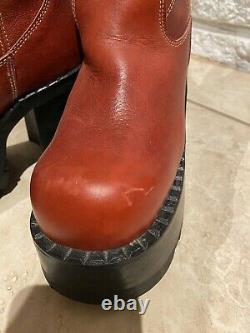 Destroy Vintage 90s Platform Red Leather Boots Ue 38 États-unis 7/7,5