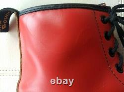 Doc Dr. Martens Bottes En Cuir Lisse Rouge Made In England Rare Vintage Unisex 6uk