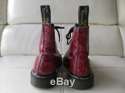 Doc Dr. Martens Bottes Rouge Soles Mentions Légales Made In England Rare Vintage 6uk Usw8m7