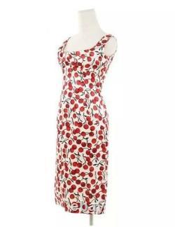 Dolce - Gabbana Vintage 1996 Runway Silk White Cherry Print Dress Sz It 40 Us 4