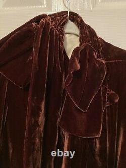 Édouardien Victorien Des Années 1930 Bourgogne Rust Opera Coat Velvet Women Small Vintage