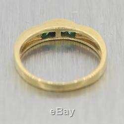 Emerald Et À Diamants Bague Vintage En Or Jaune 18 Carats Domaine