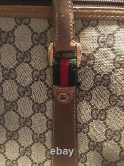 Énorme! Gucci Vintage Gg Logo Monogram Canvas Leather Red Green Stripe Sac Sac À Bandoulière